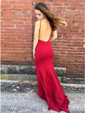 Mermaid Spaghetti Sraps Backless Sweep Train Red Prom Dress with Split PDA277 | ballgownbridal