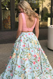 Two Piece V-Neck Sweep Train Blue Printed Satin Backless Prom Dress with Bowknot LR307
