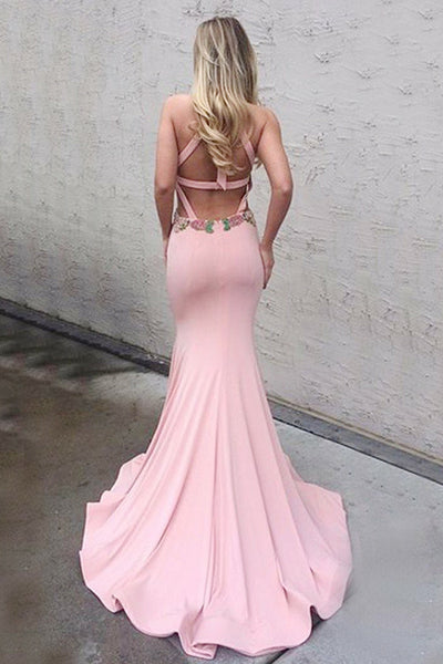 Mermaid Crew Sweep Train Pink Open Back Keyhole Prom Dress with Appliques LR362