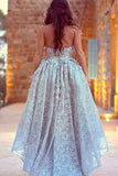 A-Line Sweetheart High Low Blue Lace Sleeveless Vintage Prom Dress with Appliques LR150