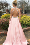 A-Line Jewel Sweep Train Pink Satin Open Back Sleeveless Prom Dress with Beading LR153