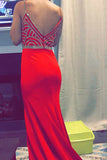 A-Line Spaghetti Straps Sweep Train Red Stretch Satin Prom Dress with Beading LR74