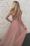 Sparkly Dusty Rose Tulle Beaded Prom Dress Backless V Neck S1