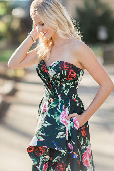 A-Line Sweetheart Sweep Train Black Printed Satin Sleeveless Split Prom Dress with Pockets LR80