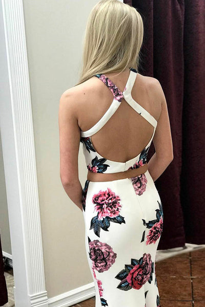 Two Piece Cross Neck Sweep Train White Printed Split Open Back Prom Dress LR160