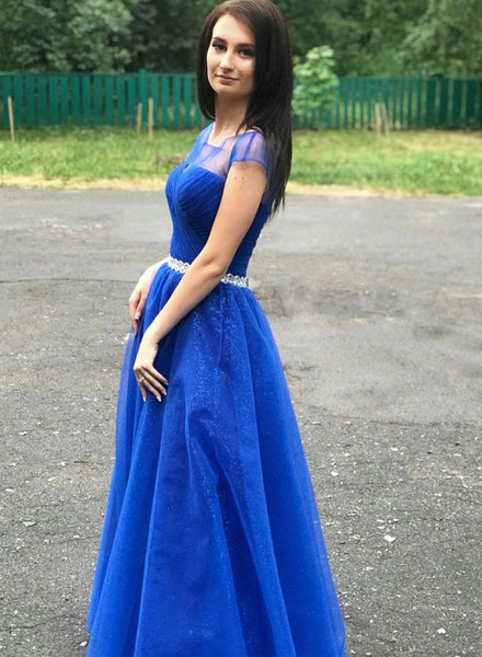Royal Blue Tulle Cap Sleeve Long Prom Dress With Slit PDA425 | ballgownbridal