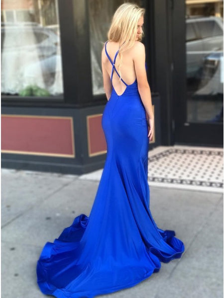 Mermaid V-Neck Criss-Cross Back Sweep Train Royal Blue Prom Dress with Split PDA361 | ballgownbridal