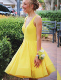 Simple A Line V Neck Yellow Short Homecoming Dresses with Ruched PDA090 | ballgownbridal