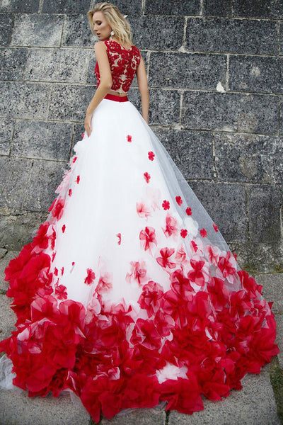 Two Piece Jewel Sweep Train Red Tulle Prom Dress with Appliques Flowers LR276