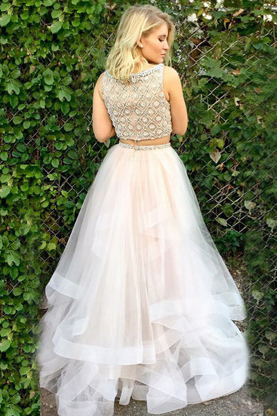 Two Piece Bateau Sweep Train White Tulle Sleeveless Prom Dress with Beading LR167