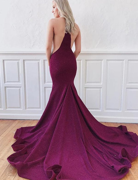 Mermaid Purple Prom Dresses 2020 Deep V Neck with Sweep Train PDA196
