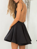 A Line Scoop Backless Short Black Satin Homecoming Dress PDA051 | ballgownbridal