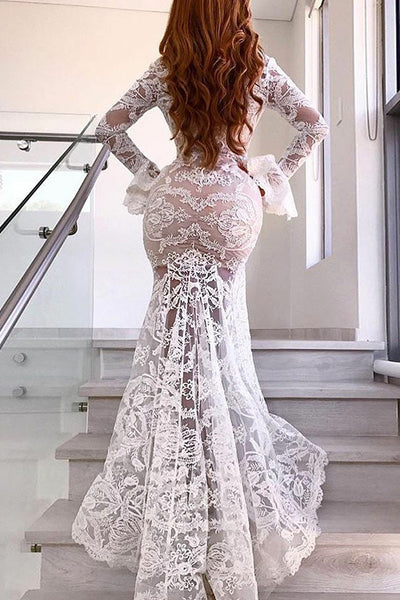 Mermaid Deep V-Neck Sweep Train Long Bell Sleeves White Split Lace Wedding Dress AHC574