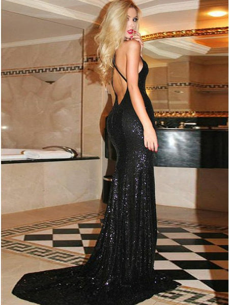 Mermaid Deep V-Neck Criss-Cross Straps Black Sequined Prom Dress PDA340 | ballgownbridal