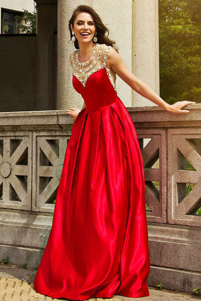 A-Line Jewel Sweep Train Red Satin Sleeveless Prom Dress with Beading LR190
