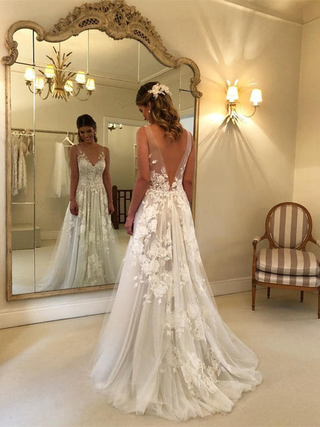 Gorgeous Off Shoulder Sweetheart Low Back Lace Wedding Dresses Long Bridal Dress AHC561