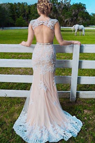 Mermaid Jewel Sweep Train Open Back Champagne Tulle Prom Dress with Applqiues  AHC667 | ballgownbridal
