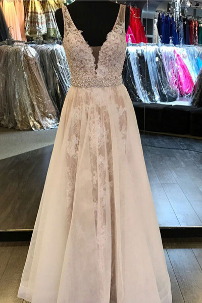 A-Line Deep V-Neck Floor-Length White Tulle Backless Prom Dress with Appliques Lace LR134