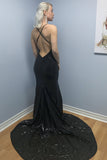 Mermaid Spaghetti Straps Backless Sweep Train Black Sequined Prom Dress LR28