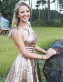 Bling A Line Halter Gold Sequins Short Homecoming Dresses with Ruffles PDA107 | ballgownbridal