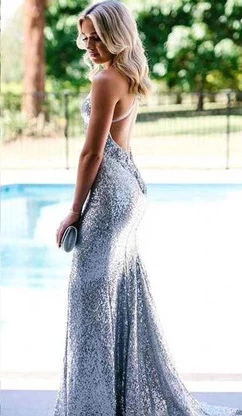 Silver Sparkly Sequins Mermaid V-neck Spaghetti Straps Prom Dress Party Dresses LR10