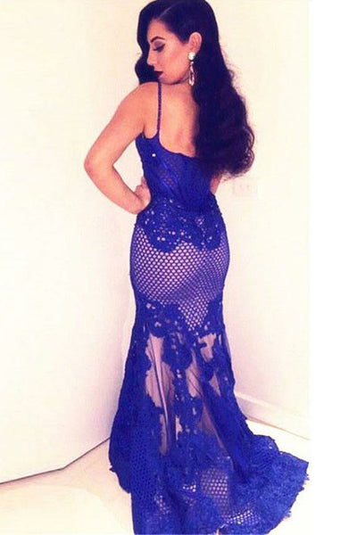 Mermaid Spaghetti Straps Sweep Train Royal Blue Tulle Appliques Prom Dress AHC537