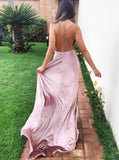 A-Line Spaghetti Straps Sweep Train Pink Velvet Prom Dress PDA475 | ballgownbridal
