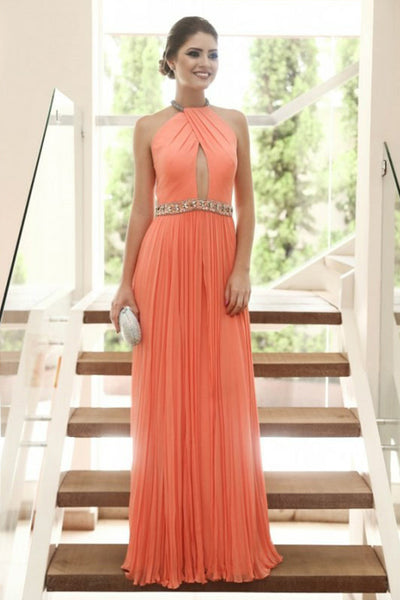 A-Line Jewel Floor-Length Coral Chiffon Keyhole Prom Dress with Beading LRA199