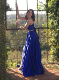 Two Piece Spaghetti Straps Backless Royal Blue Long Prom Dress with Split Pockets PDA417 | ballgownbridal