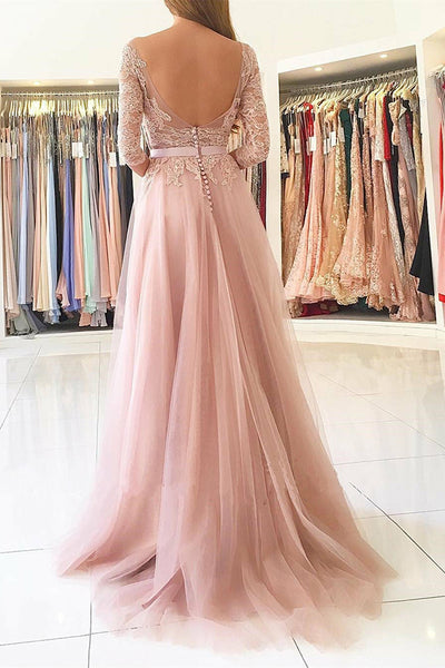 A-Line Bateau Long Sleeves Sweep Train Pink Tulle Prom Dress with Appliques LR431