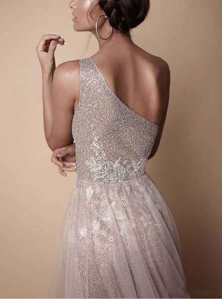 A-Line One-Shoulder Floor-Length Champagne Prom Dress with Beading Split PDA530 | ballgownbridal