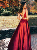 Two Piece Scoop Lace Up Floor-Length Burgundy Prom Dress with Lace Split PDA389 | ballgownbridal