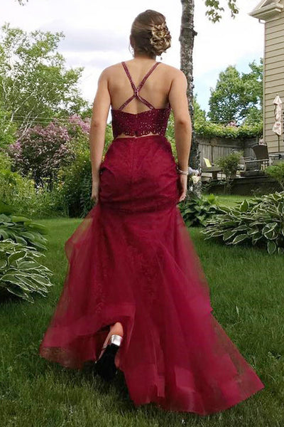 Two Piece Crew Sweep Train Criss-Cross Straps Dark Red Tulle Beaded Prom Dress LR341