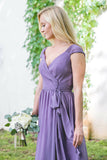 A-Line V-Neck Cap Sleeves Lace-Up Purple Long Chiffon Bridesmaid Dress AHC648