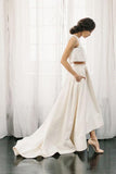 White Two Piece A Line Asymmetrical Sleeveless Satin Wedding Dress AHC564 | ballgownbridal