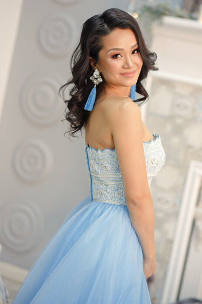 A-Line Strapless Floor-Length Light Blue Prom Dress with Lace Beading LR37