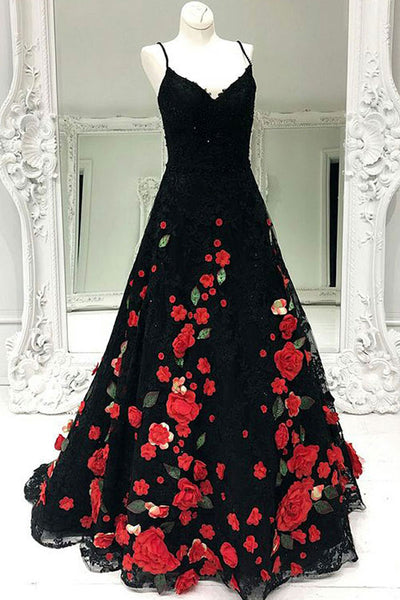 A-Line Spaghetti Straps Sweep Train Black Lace Sleeveless Prom Dress with Appliques LR127