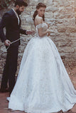 Ball Gown Off-the-Shoulder Court Train Ivory Satin Wedding Dress with Appliques AHC580 | ballgownbridal