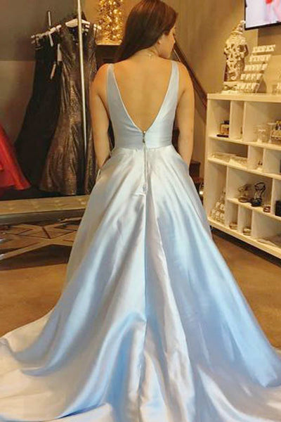 A-Line Deep V-Neck Court Train Light Blue Satin Backless Prom Dress with Pleats LR377