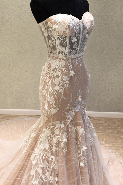 Mermaid Sweetheart Court Train Champagne Lace Wedding Dress with Appliques AHC582
