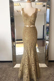 Two Piece Mermaid V-Neck Sweep Train Gold Lace Prom Dress LR38