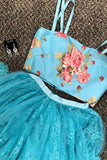 Two Piece Straps Sweep Train Blue Lace Prom Dress with Beading Embroidery LR109