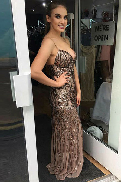 Mermaid Spaghetti Straps Sweep Train Brown Chiffon Sleeveless Prom Dress with Sequins LR142