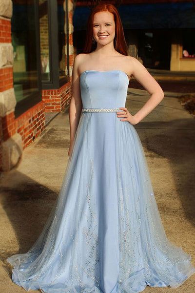 A-Line Sweetheart Sweep Train Blue Tulle Sleeveless Prom Dress with Beading Sequins LR93