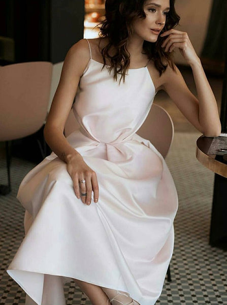 Spaghetti Straps White Prom Dress with Pockets Backless Tea-Length Party Dress PDA416 | ballgownbridal