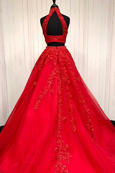 Two Piece High Neck Sweep Train Red Tulle Prom Dress with Appliques Beading LR348