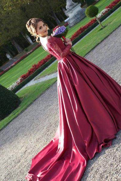 Ball Gown Off-the-Shoulder Sweep Train Long Sleeves Burgundy Satin Prom Dress with Appliques AHC682 | Ballgownbridal