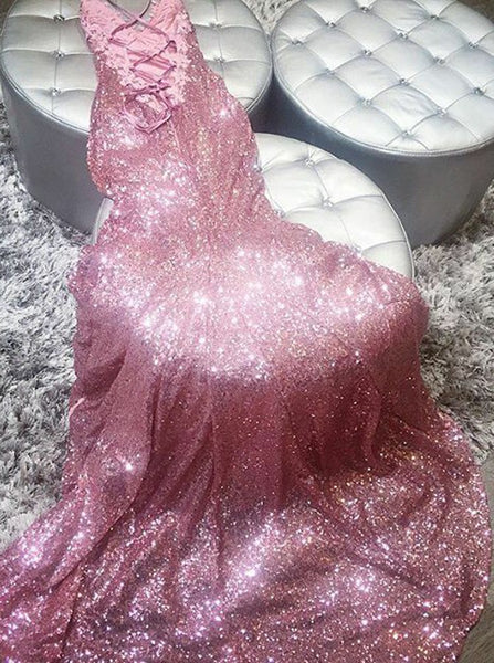 Mermaid V-Neck Sweep Train Rose Pink Sequined Prom Dress with Lace PDA462 | ballgownbridal