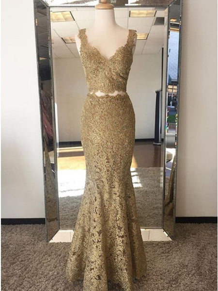 Two Piece Mermaid V-Neck Sweep Train Gold Lace Prom Party Dress PDA336