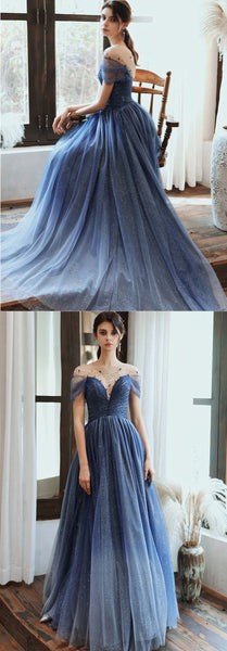 Stunning Blue Tulle Beaded Long Dress PDA481